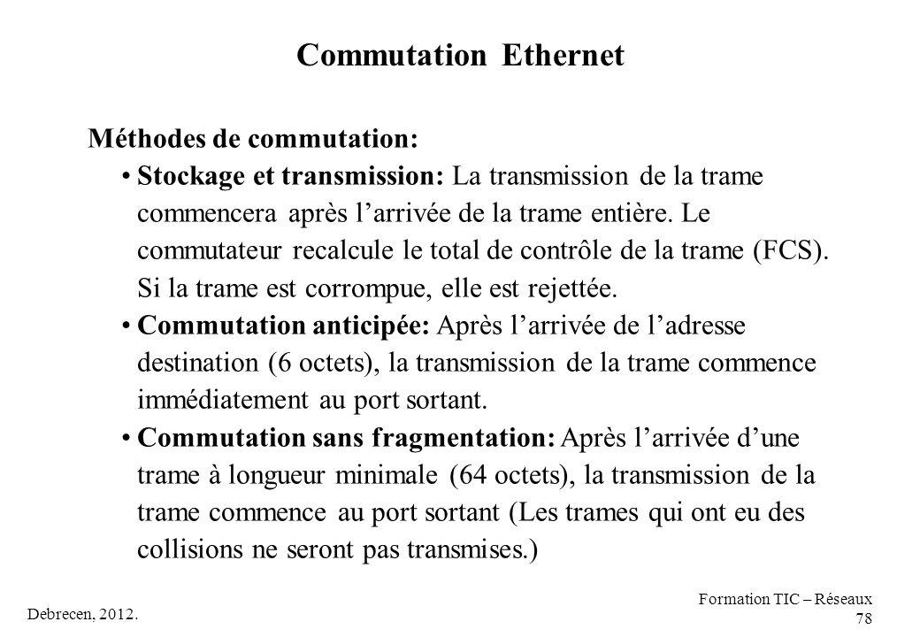 Debrecen, 2012. Formation TIC – Réseaux 78 Méthodes de commutation: Stockage et transmission: La transmission de la trame commencera après l'arrivée d