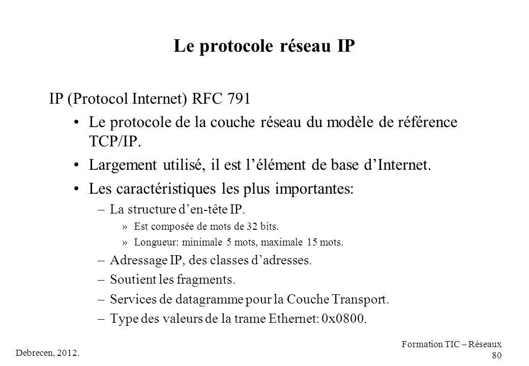 Debrecen, 2012. Formation TIC – Réseaux 80 Le protocole réseau IP IP (Protocol Internet) RFC 791 Le protocole de la couche réseau du modèle de référen