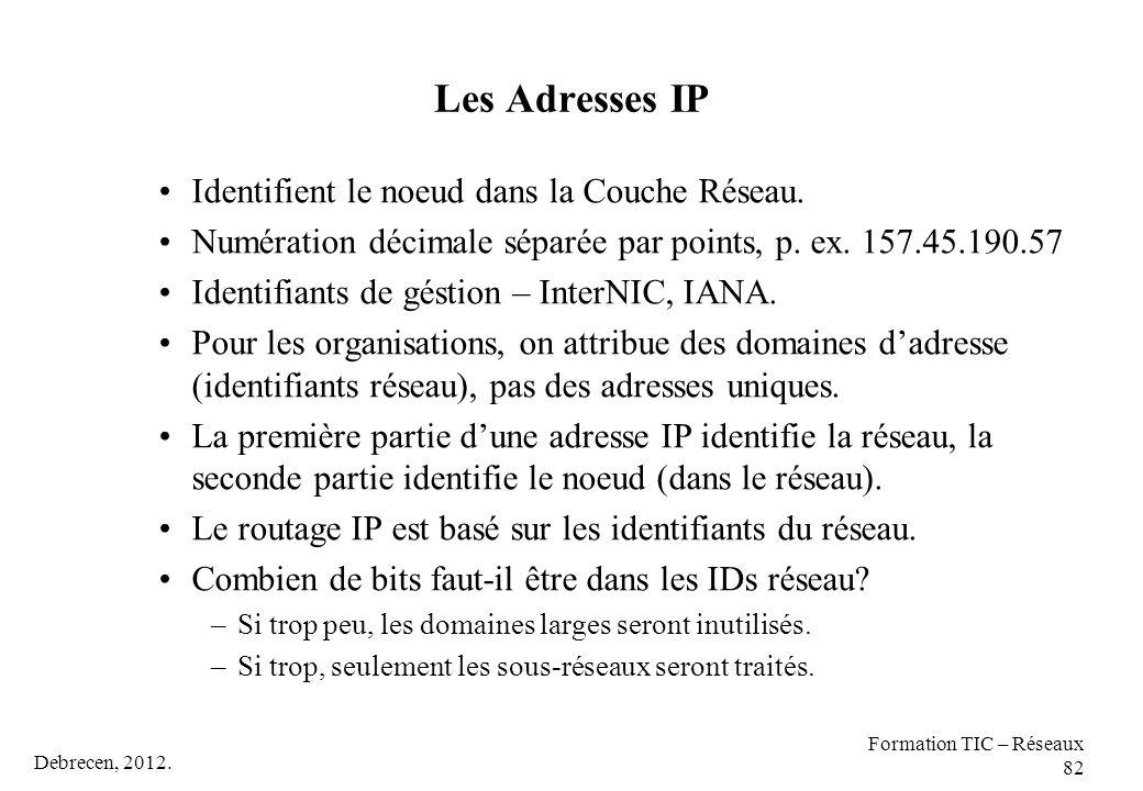 Debrecen, 2012. Formation TIC – Réseaux 82 Les Adresses IP Identifient le noeud dans la Couche Réseau. Numération décimale séparée par points, p. ex.