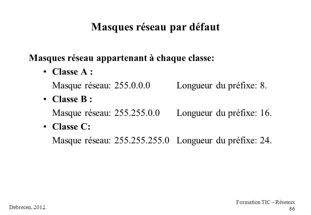 Debrecen, 2012. Formation TIC – Réseaux 86 Masques réseau par défaut Masques réseau appartenant à chaque classe: Classe A : Masque réseau: 255.0.0.0 L