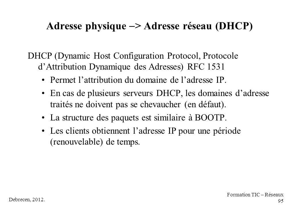Debrecen, 2012. Formation TIC – Réseaux 95 Adresse physique  > Adresse réseau (DHCP) DHCP (Dynamic Host Configuration Protocol, Protocole d'Attributi