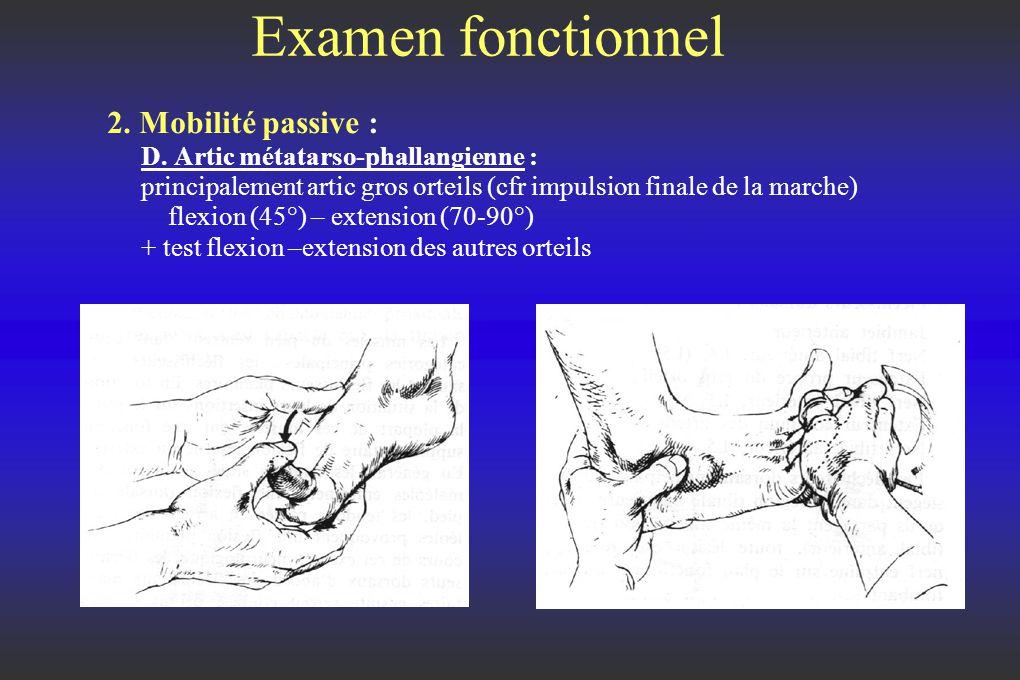 Examen fonctionnel 2.Mobilité passive : D.