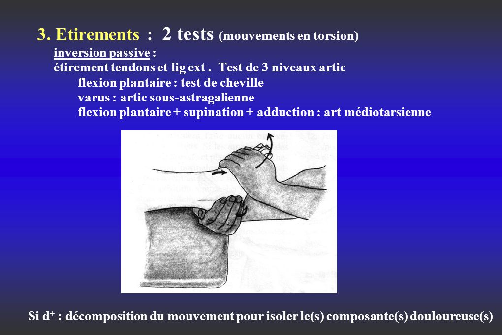 3. Etirements : 2 tests (mouvements en torsion) inversion passive : étirement tendons et lig ext. Test de 3 niveaux artic flexion plantaire : test de