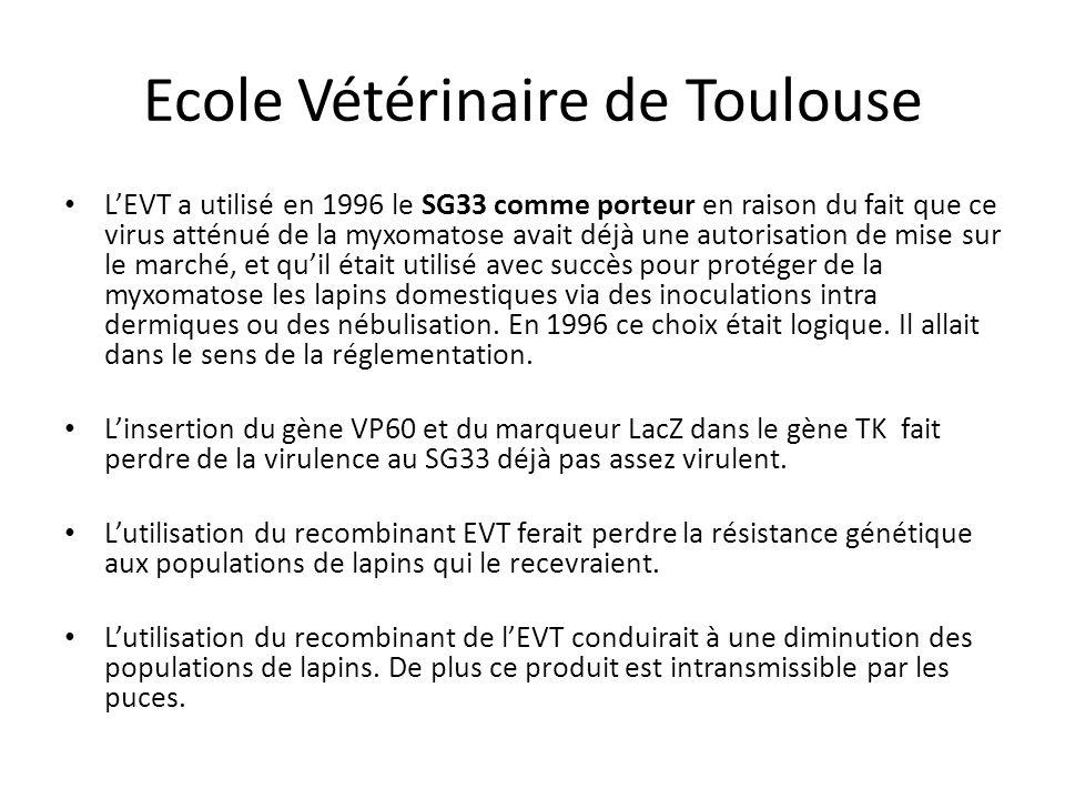 Ecole Vétérinaire de Toulouse L'EVT a utilisé en 1996 le SG33 comme porteur en raison du fait que ce virus atténué de la myxomatose avait déjà une aut