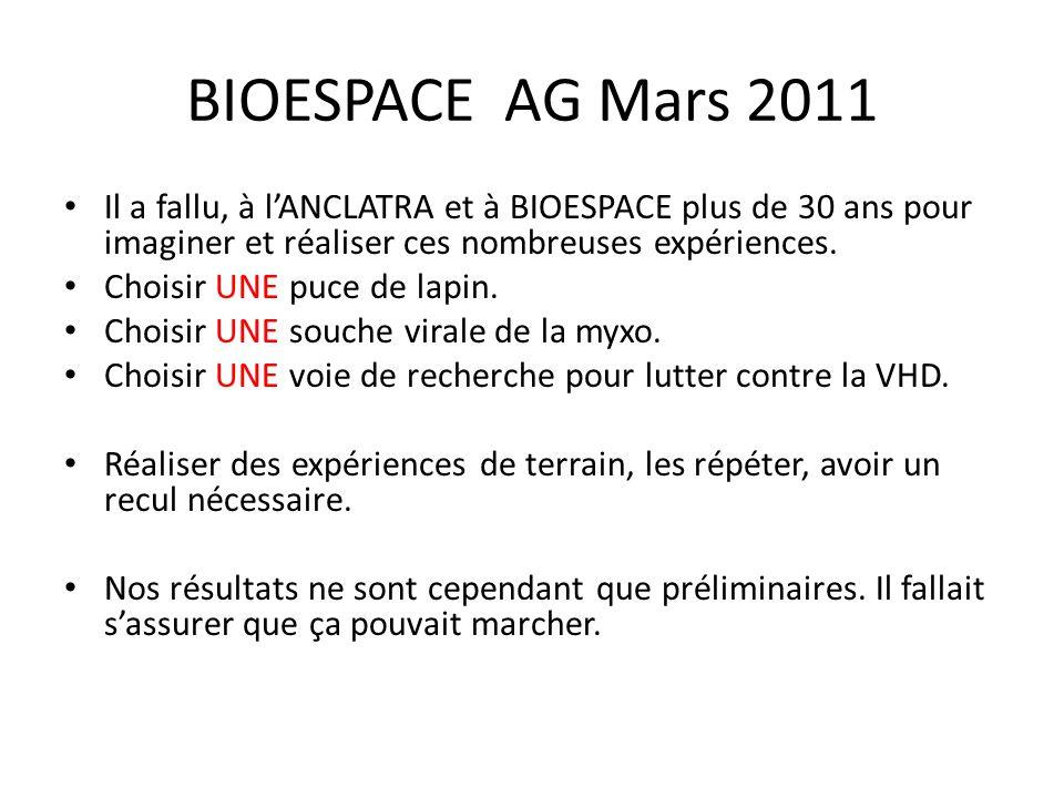 BIOESPACE AG Mars 2011 Il a fallu, à l'ANCLATRA et à BIOESPACE plus de 30 ans pour imaginer et réaliser ces nombreuses expériences. Choisir UNE puce d