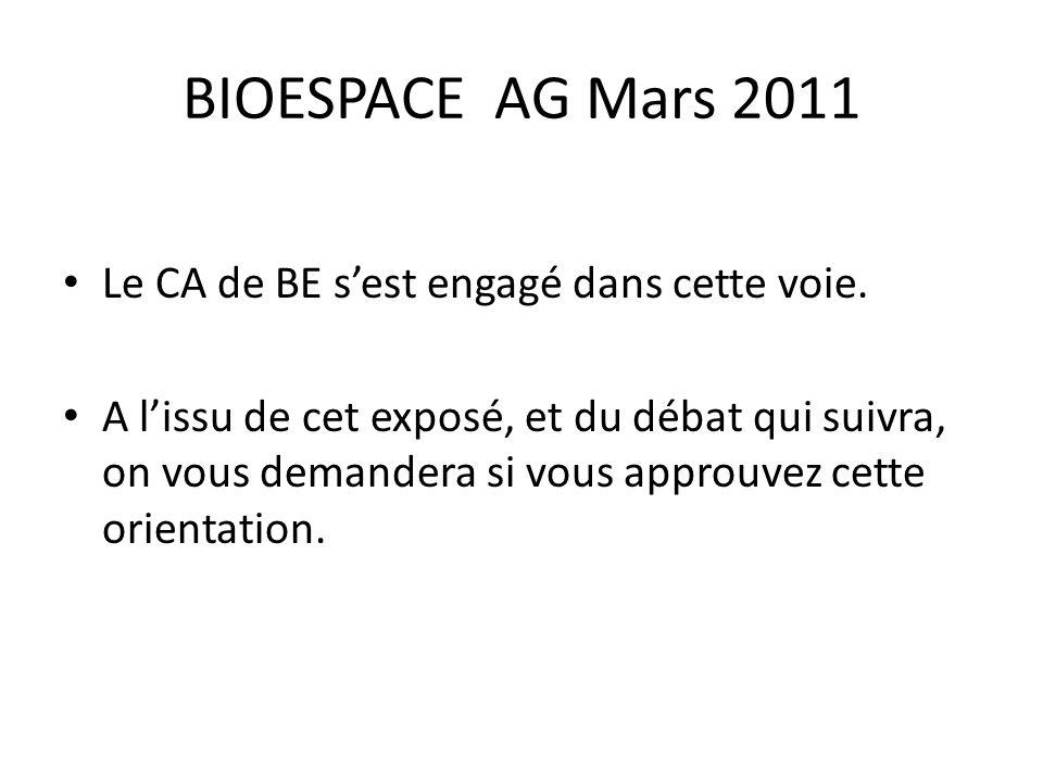 BIOESPACE AG Mars 2011 Le CA de BE s'est engagé dans cette voie. A l'issu de cet exposé, et du débat qui suivra, on vous demandera si vous approuvez c