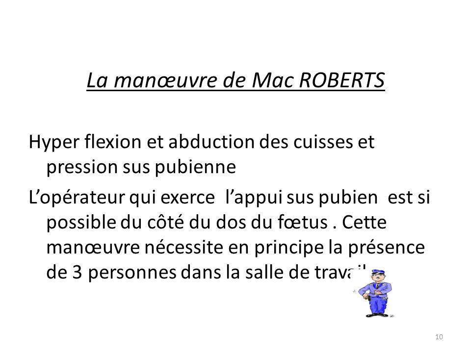 La manœuvre de Mac ROBERTS Hyper flexion et abduction des cuisses et pression sus pubienne L'opérateur qui exerce l'appui sus pubien est si possible d