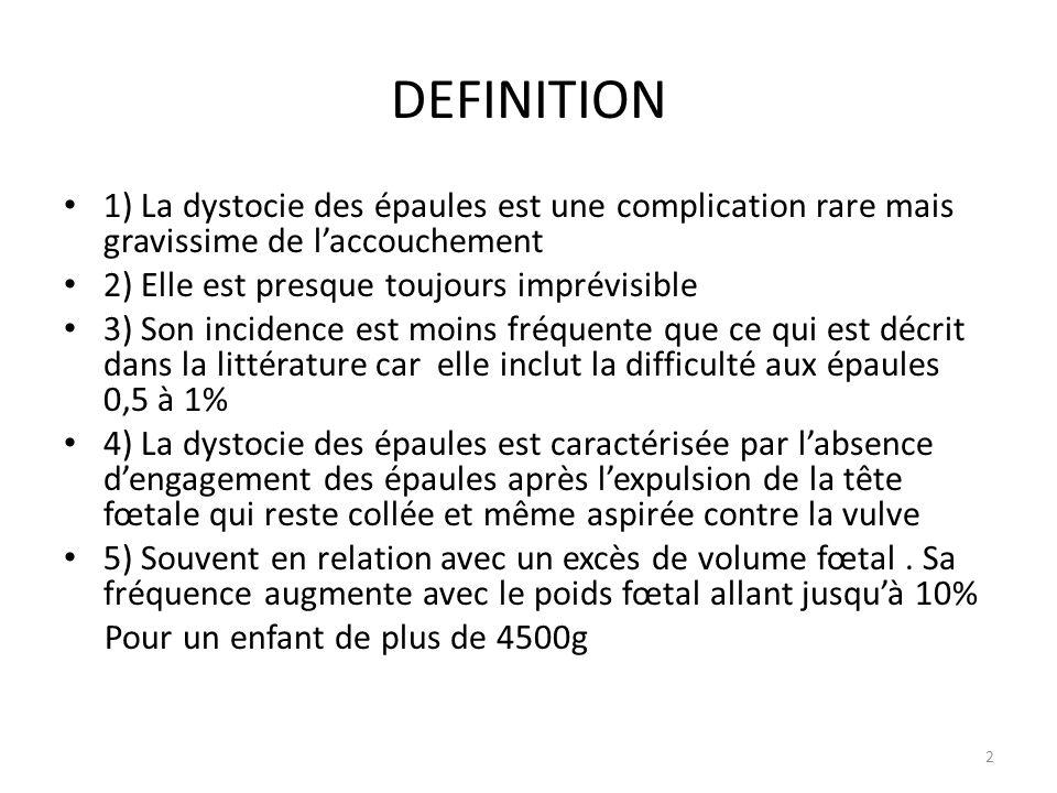 DEFINITION 1) La dystocie des épaules est une complication rare mais gravissime de l'accouchement 2) Elle est presque toujours imprévisible 3) Son inc