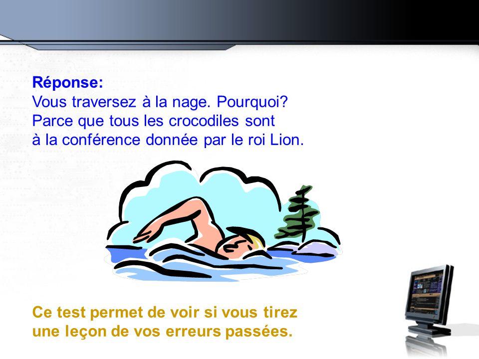 Réponse: Vous traversez à la nage. Pourquoi? Parce que tous les crocodiles sont à la conférence donnée par le roi Lion. Ce test permet de voir si vous