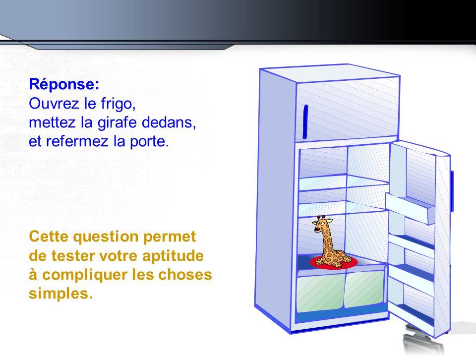 Réponse: Ouvrez le frigo, mettez la girafe dedans, et refermez la porte. Cette question permet de tester votre aptitude à compliquer les choses simple