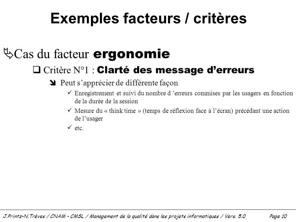 J.Printz-N.Trèves / CNAM - CMSL / Management de la qualité dans les projets informatiques / Vers. 5.0 Page 10 Exemples facteurs / critères  Cas du fa
