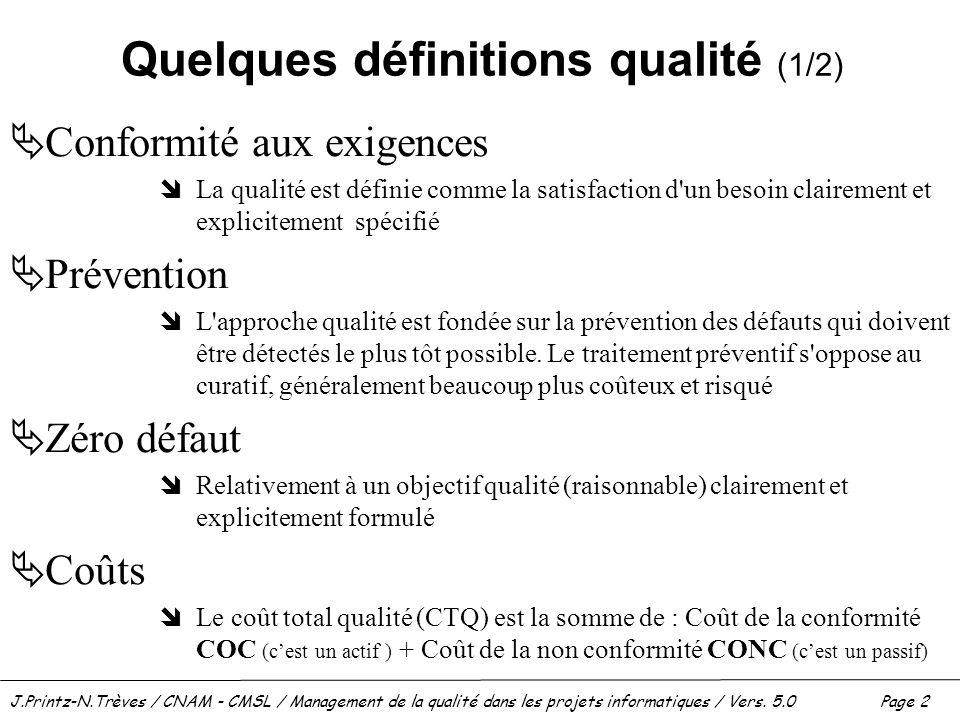 J.Printz-N.Trèves / CNAM - CMSL / Management de la qualité dans les projets informatiques / Vers. 5.0 Page 2 Quelques définitions qualité (1/2)  Conf