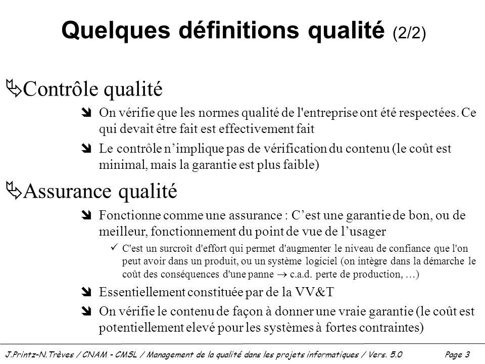 J.Printz-N.Trèves / CNAM - CMSL / Management de la qualité dans les projets informatiques / Vers. 5.0 Page 3 Quelques définitions qualité (2/2)  Cont