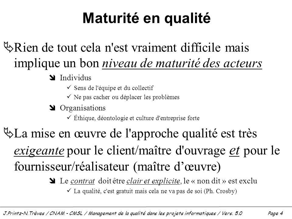 J.Printz-N.Trèves / CNAM - CMSL / Management de la qualité dans les projets informatiques / Vers. 5.0 Page 4 Maturité en qualité  Rien de tout cela n