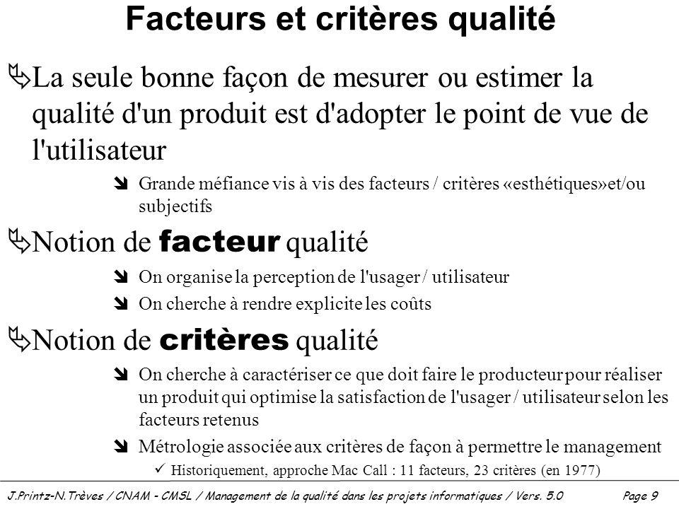 J.Printz-N.Trèves / CNAM - CMSL / Management de la qualité dans les projets informatiques / Vers. 5.0 Page 9 Facteurs et critères qualité  La seule b