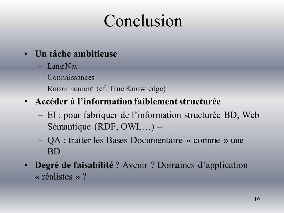Conclusion Un tâche ambitieuse –Lang Nat –Connaissances –Raisonnement (cf. True Knowledge) Accéder à l'information faiblement structurée –EI : pour fa
