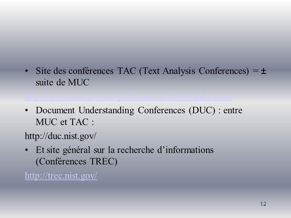 Site des conférences TAC (Text Analysis Conferences) = ± suite de MUC http://www.nist.gov/tac/publications/2008/index.html Document Understanding Conf