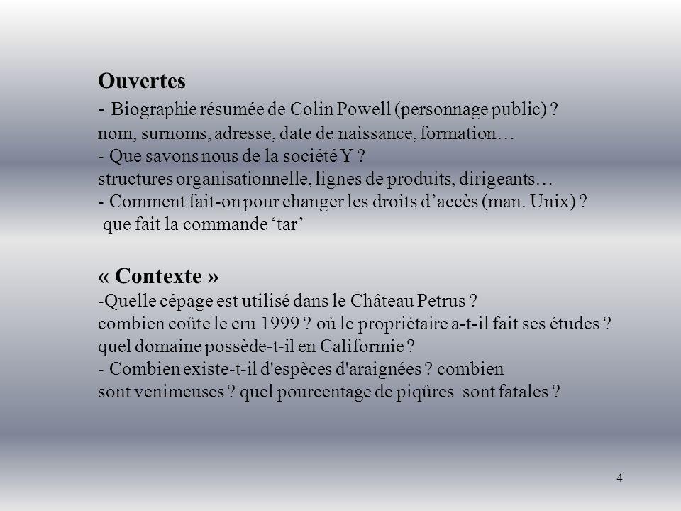 4 Ouvertes - Biographie résumée de Colin Powell (personnage public) ? nom, surnoms, adresse, date de naissance, formation… - Que savons nous de la soc