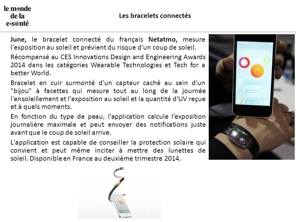 Les bracelets connectés June, le bracelet connecté du français Netatmo, mesure l'exposition au soleil et prévient du risque d'un coup de soleil. Récom