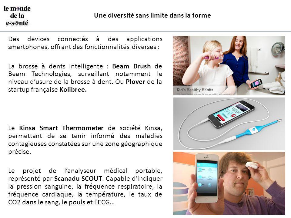 Une diversité sans limite dans la forme Des devices connectés à des applications smartphones, offrant des fonctionnalités diverses : La brosse à dents