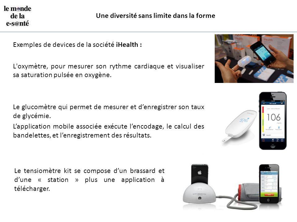Une diversité sans limite dans la forme Exemples de devices de la société iHealth : L'oxymètre, pour mesurer son rythme cardiaque et visualiser sa sat