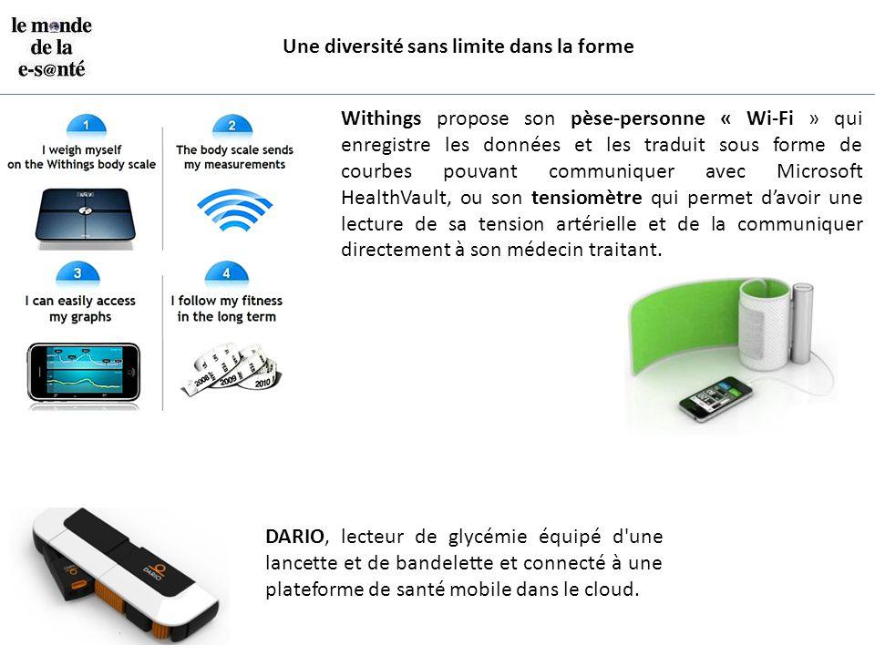 Une diversité sans limite dans la forme Withings propose son pèse-personne « Wi-Fi » qui enregistre les données et les traduit sous forme de courbes p