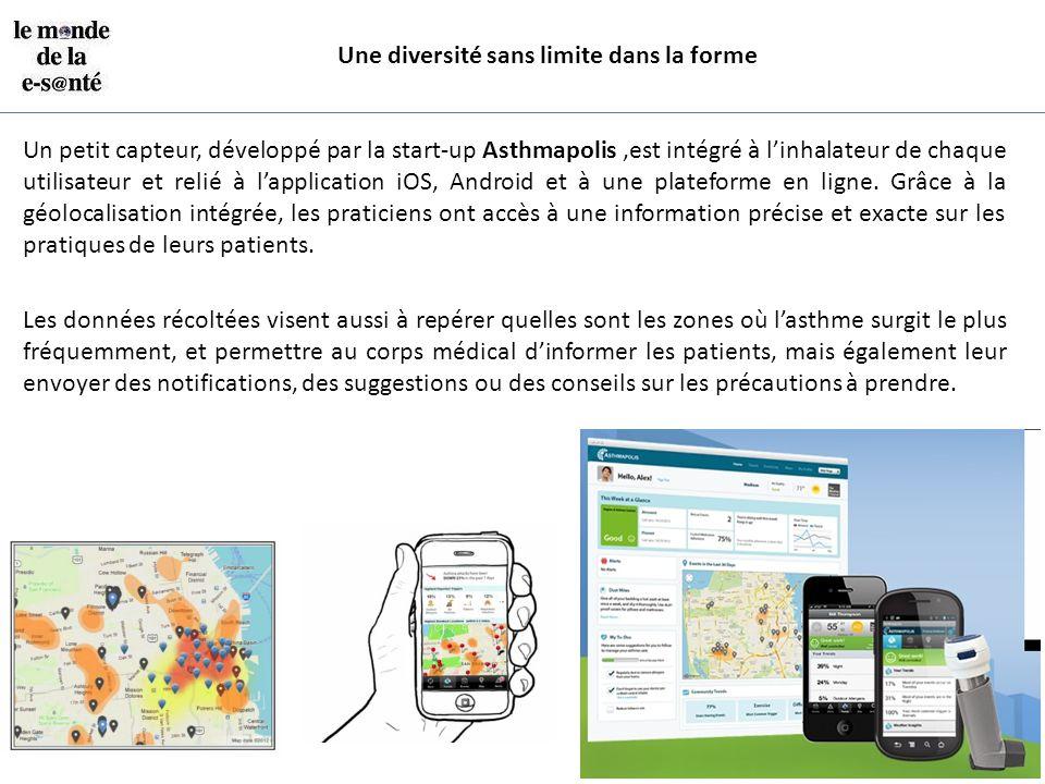 Une diversité sans limite dans la forme Un petit capteur, développé par la start-up Asthmapolis,est intégré à l'inhalateur de chaque utilisateur et re