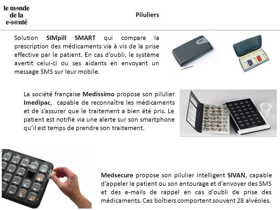 Piluliers Solution SIMpill SMART qui compare la prescription des médicaments via à vis de la prise effective par le patient. En cas d'oubli, le systèm