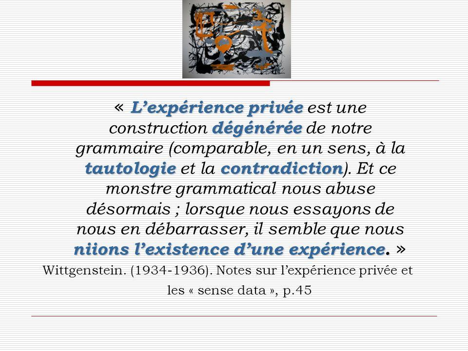 L'expérience privée dégénérée tautologiecontradiction niionsl'existence d'une expérience. « L'expérience privée est une construction dégénérée de notr
