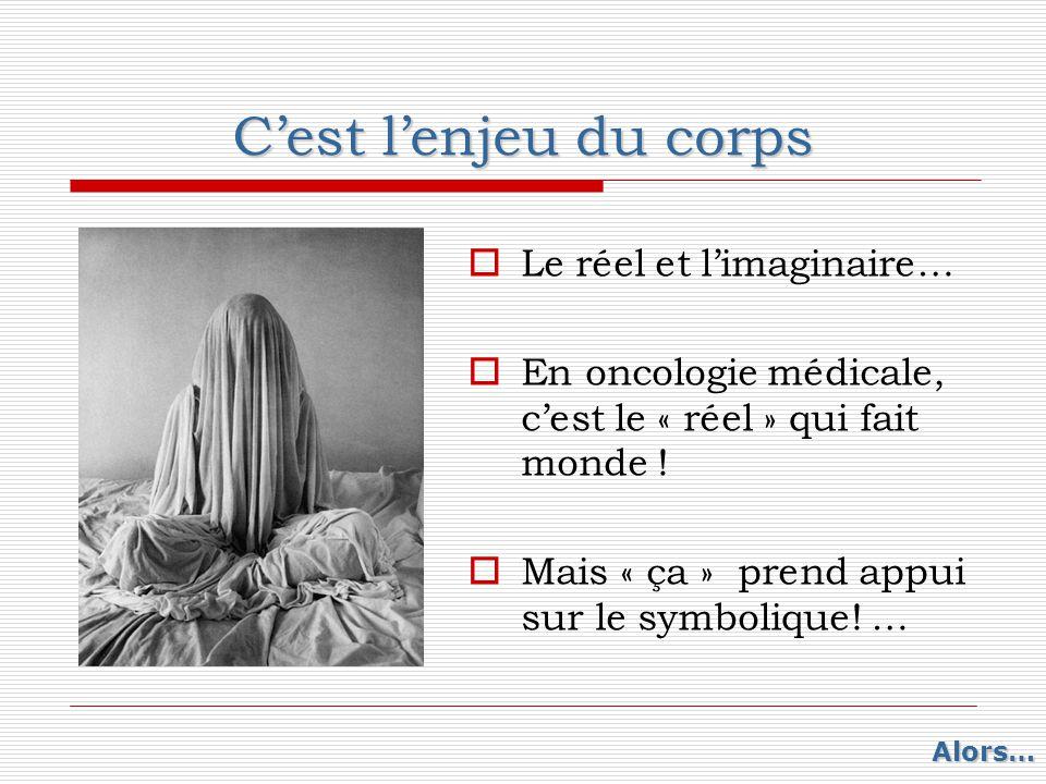 C'est l'enjeu du corps  Le réel et l'imaginaire…  En oncologie médicale, c'est le « réel » qui fait monde !  Mais « ça » prend appui sur le symboli
