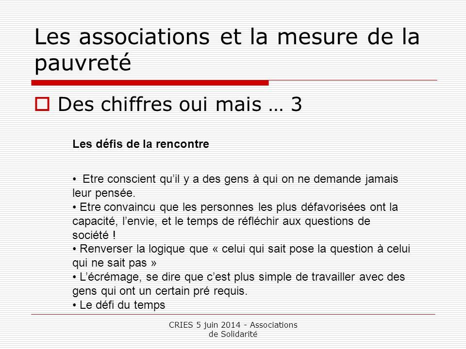 CRIES 5 juin 2014 - Associations de Solidarité Les associations et la mesure de la pauvreté  Des chiffres oui mais … 3 Les défis de la rencontre Etre