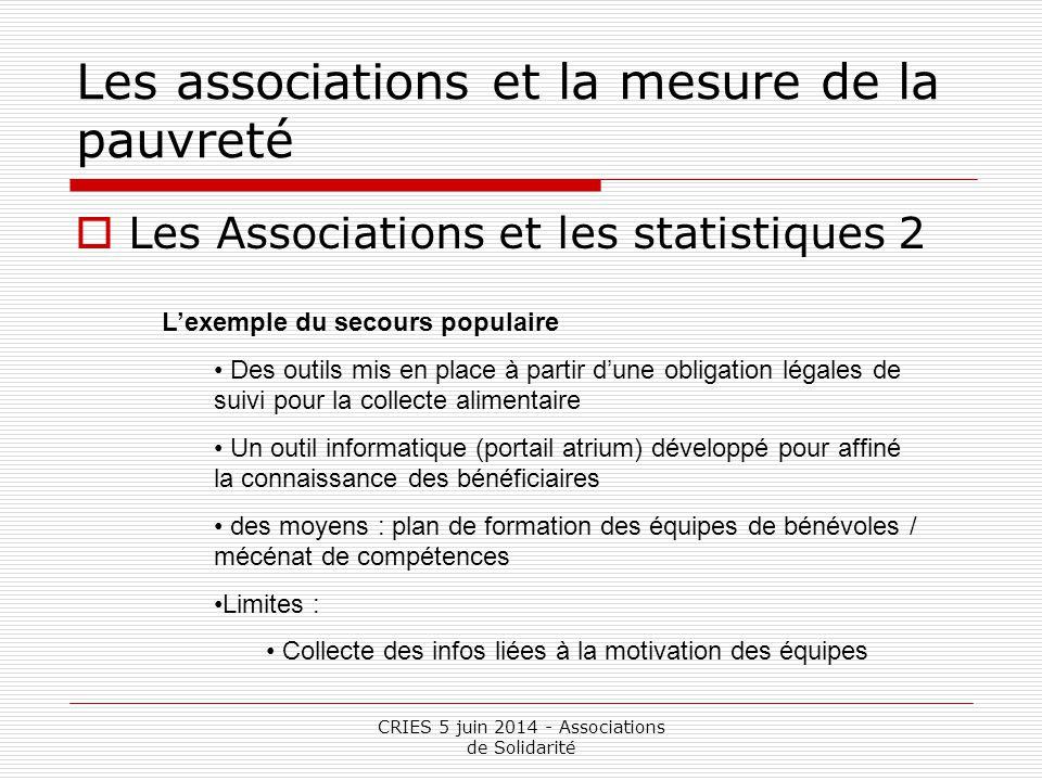 CRIES 5 juin 2014 - Associations de Solidarité Les associations et la mesure de la pauvreté  Les Associations et les statistiques 3 L'exemple de la Croix Rouge Des données équivalente à ce que l'on trouve dans les entreprises Filière exclusion avec un contrôle de gestion poussé.
