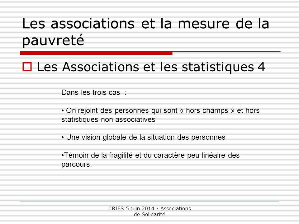 CRIES 5 juin 2014 - Associations de Solidarité Les associations et la mesure de la pauvreté  Les Associations et les statistiques 4 Dans les trois ca