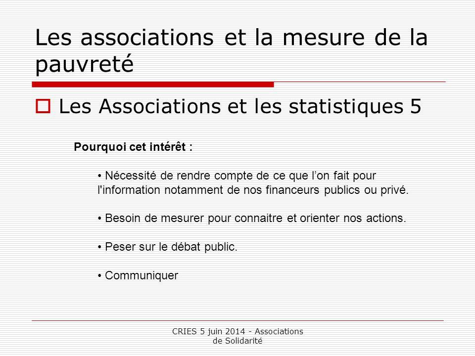 CRIES 5 juin 2014 - Associations de Solidarité Les associations et la mesure de la pauvreté  Des chiffres oui mais … 1 Les témoignages Les témoignages sont de plus en plus utilisés par les acteurs associatifs, politiques et médiatiques.