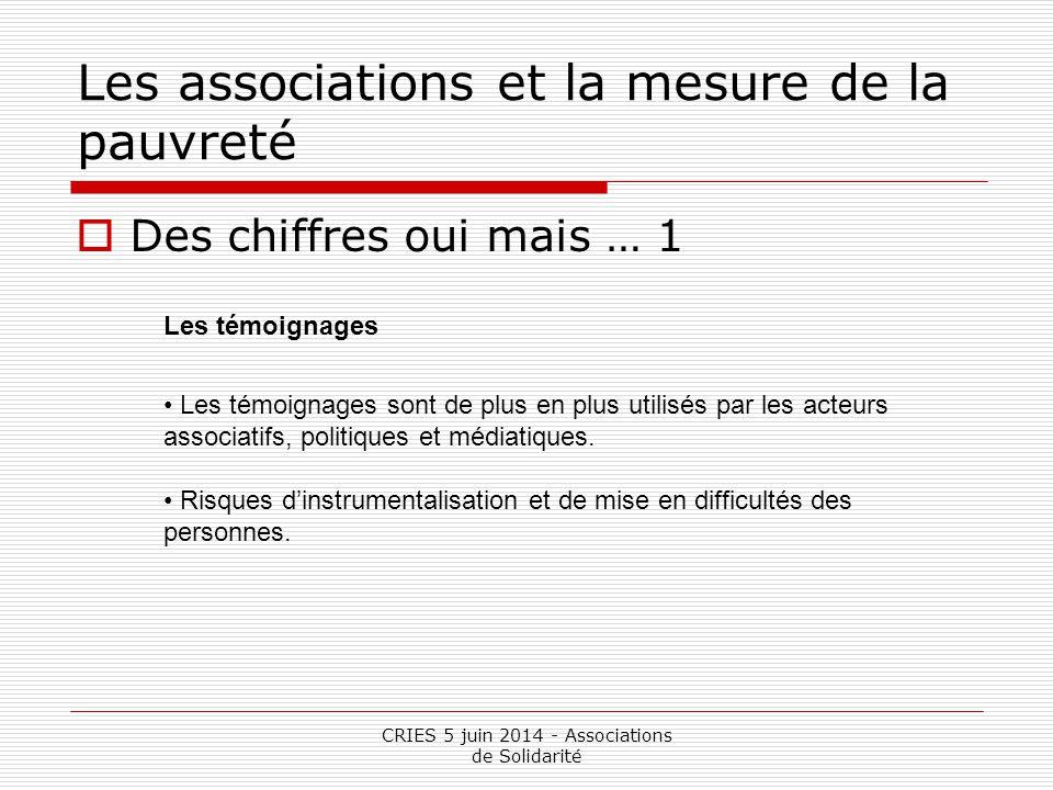 CRIES 5 juin 2014 - Associations de Solidarité Les associations et la mesure de la pauvreté  Des chiffres oui mais … 1 Les témoignages Les témoignage