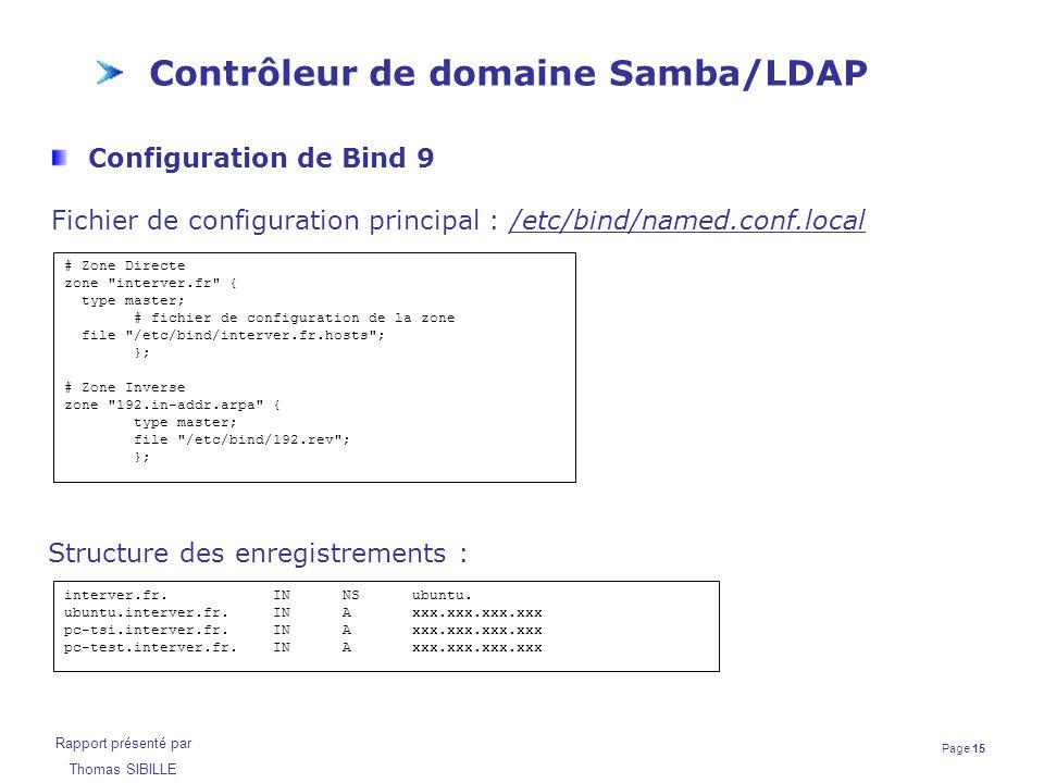Page 15 Rapport présenté par Thomas SIBILLE Contrôleur de domaine Samba/LDAP Configuration de Bind 9 Fichier de configuration principal : /etc/bind/na