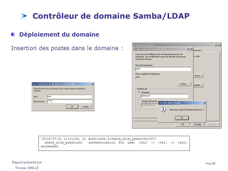 Page 20 Rapport présenté par Thomas SIBILLE Contrôleur de domaine Samba/LDAP Déploiement du domaine Insertion des postes dans le domaine : [2006/07/31