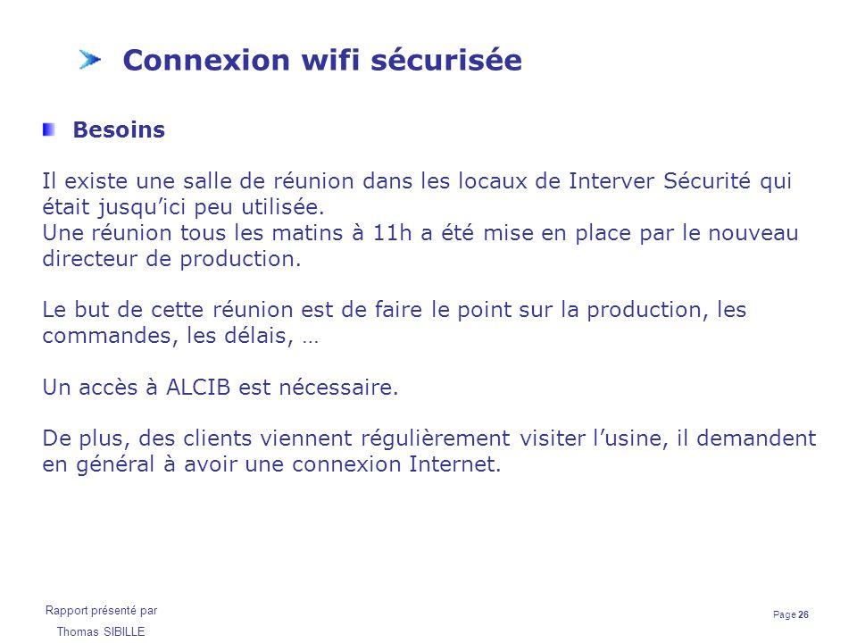 Page 26 Rapport présenté par Thomas SIBILLE Connexion wifi sécurisée Besoins Il existe une salle de réunion dans les locaux de Interver Sécurité qui é