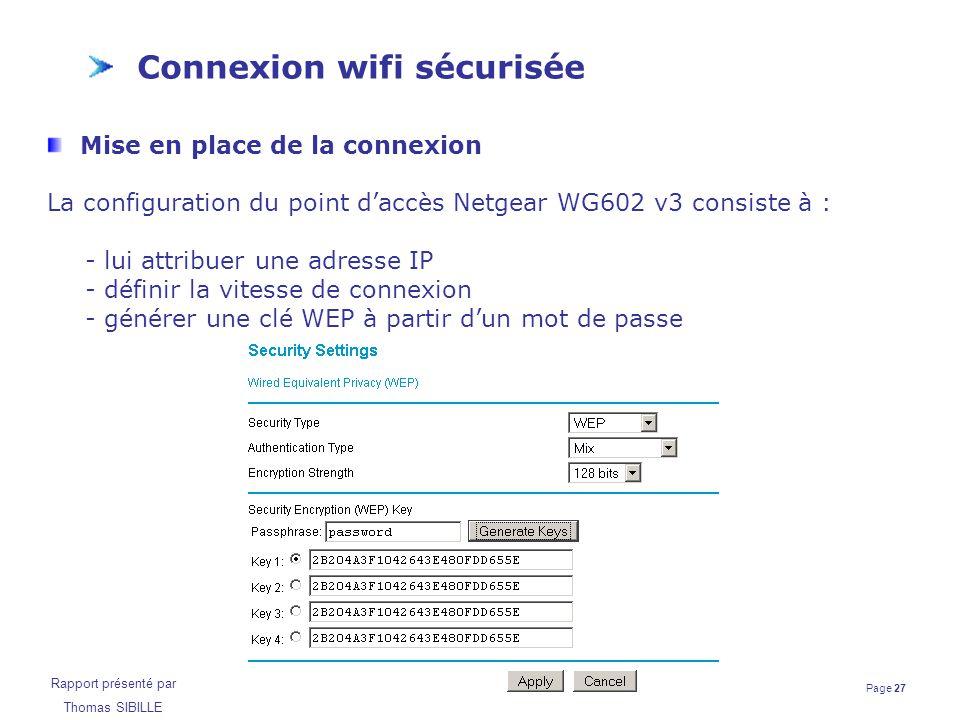 Page 27 Rapport présenté par Thomas SIBILLE Connexion wifi sécurisée Mise en place de la connexion La configuration du point d'accès Netgear WG602 v3