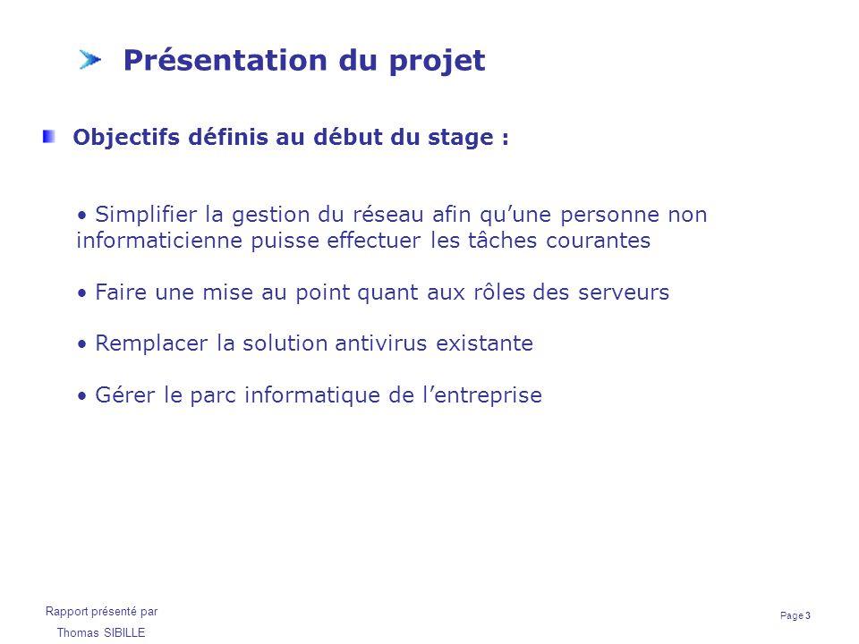 Page 3 Rapport présenté par Thomas SIBILLE Présentation du projet Objectifs définis au début du stage : Simplifier la gestion du réseau afin qu'une pe