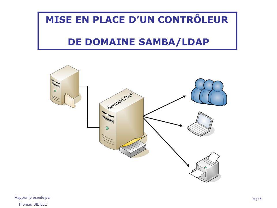 Page 19 Rapport présenté par Thomas SIBILLE Contrôleur de domaine Samba/LDAP Installation de Samba Utilisation des scripts développés par la société IDEALX : smbldap-tools Création des groupes Insertion du domaine dans la base LDAP