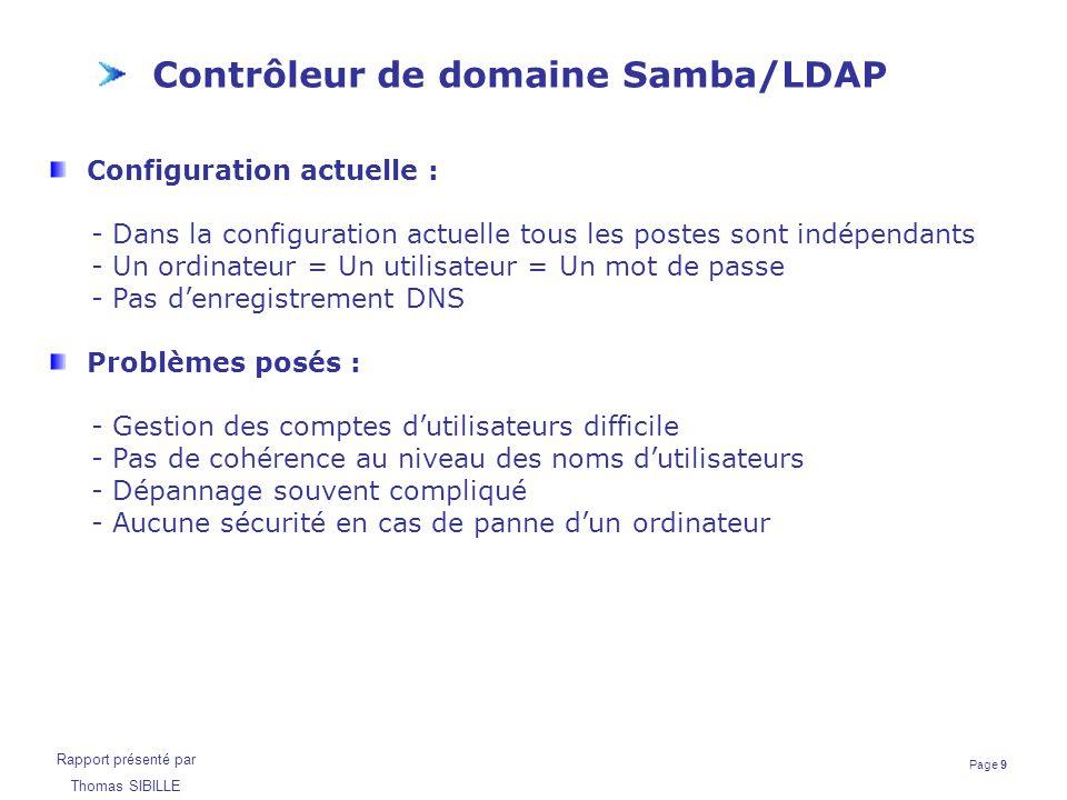 Page 10 Rapport présenté par Thomas SIBILLE Contrôleur de domaine Samba/LDAP Choix de la solution logicielle Les besoins sont les suivants : Gestion des comptes d'utilisateurs (ajout, suppression, consultation) Gestion des partages réseau Gestion des répertoires personnels des utilisateurs Centralisation des profils Deux produits conviennent dans notre cas : - Contrôleur de domaine Active Directory de Microsoft - Serveur Samba couplé avec un annuaire LDAP