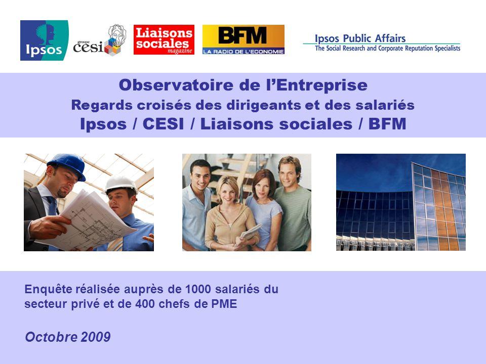Nobody's Unpredictable Enquête réalisée auprès de 1000 salariés du secteur privé et de 400 chefs de PME Octobre 2009 Observatoire de l'Entreprise Regards croisés des dirigeants et des salariés Ipsos / CESI / Liaisons sociales / BFM