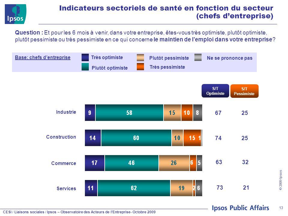 CESI / Liaisons sociales / Ipsos – Observatoire des Acteurs de l'Entreprise- Octobre 2009 © 2009 Ipsos 13 Indicateurs sectoriels de santé en fonction