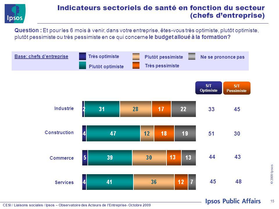 CESI / Liaisons sociales / Ipsos – Observatoire des Acteurs de l'Entreprise- Octobre 2009 © 2009 Ipsos 15 Indicateurs sectoriels de santé en fonction