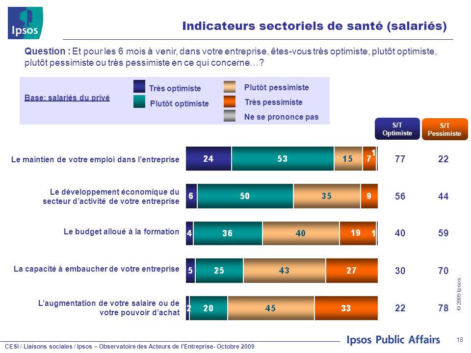 CESI / Liaisons sociales / Ipsos – Observatoire des Acteurs de l'Entreprise- Octobre 2009 © 2009 Ipsos 18 Indicateurs sectoriels de santé (salariés) Q