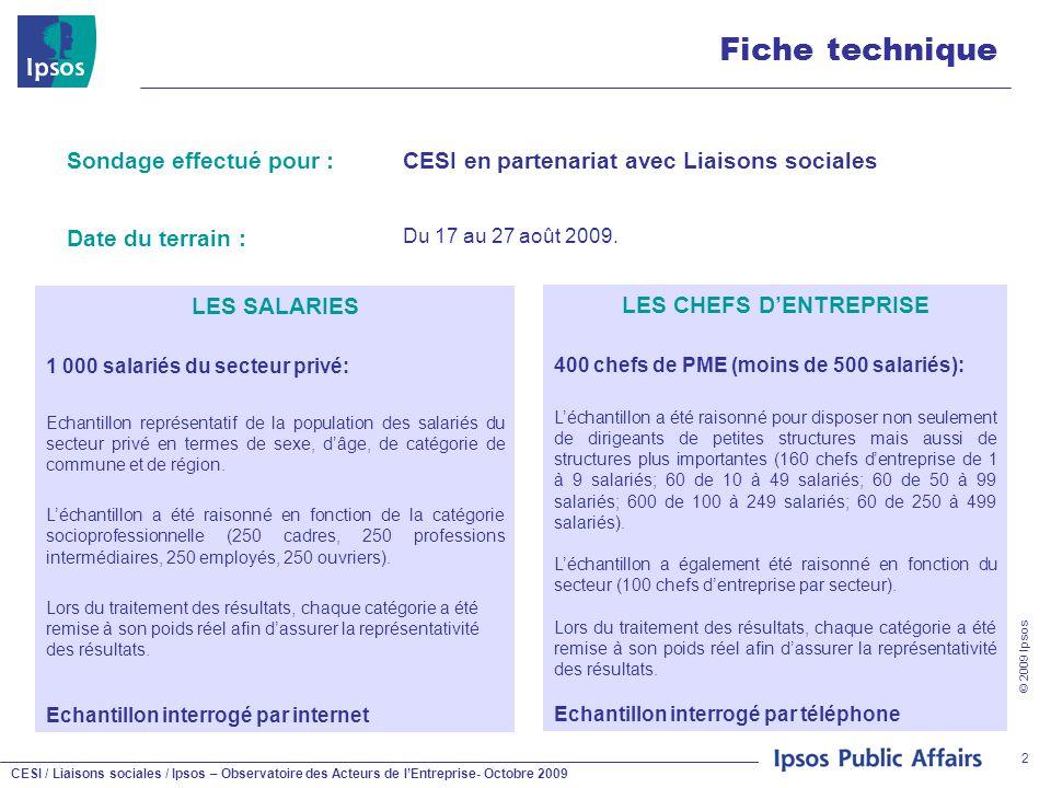 CESI / Liaisons sociales / Ipsos – Observatoire des Acteurs de l'Entreprise- Octobre 2009 © 2009 Ipsos 2 Fiche technique Sondage effectué pour :CESI en partenariat avec Liaisons sociales Date du terrain : Du 17 au 27 août 2009.