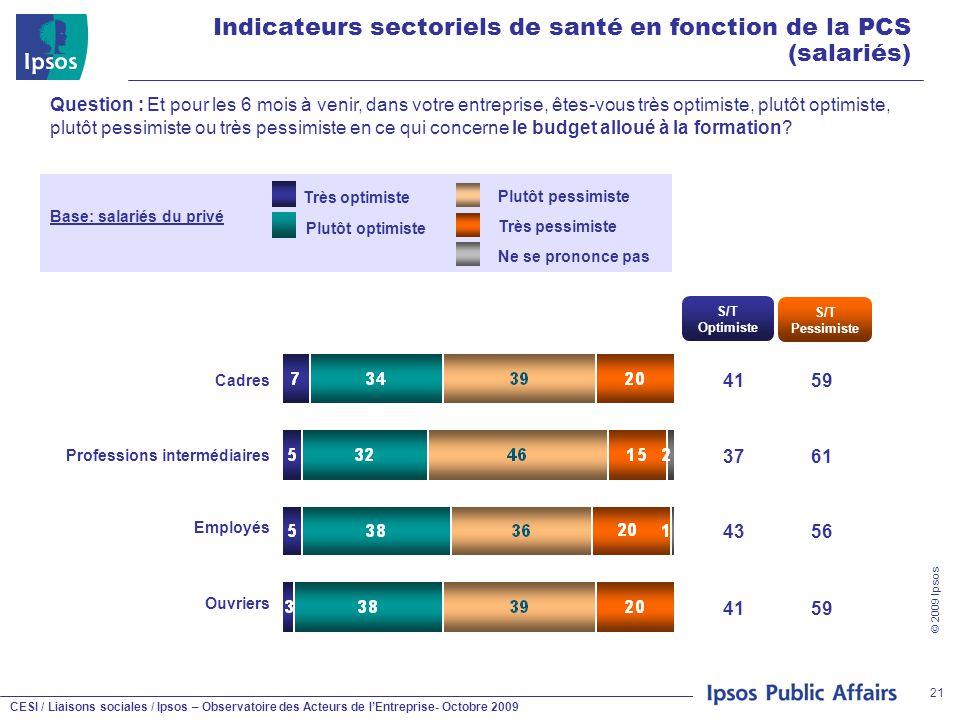 CESI / Liaisons sociales / Ipsos – Observatoire des Acteurs de l'Entreprise- Octobre 2009 © 2009 Ipsos 21 Indicateurs sectoriels de santé en fonction