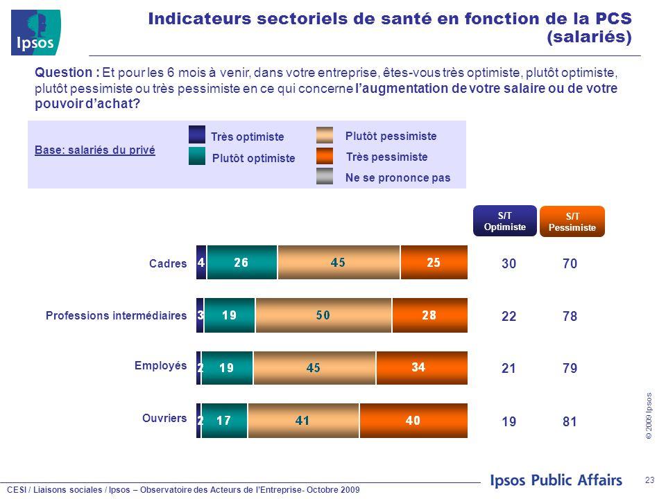 CESI / Liaisons sociales / Ipsos – Observatoire des Acteurs de l'Entreprise- Octobre 2009 © 2009 Ipsos 23 Indicateurs sectoriels de santé en fonction