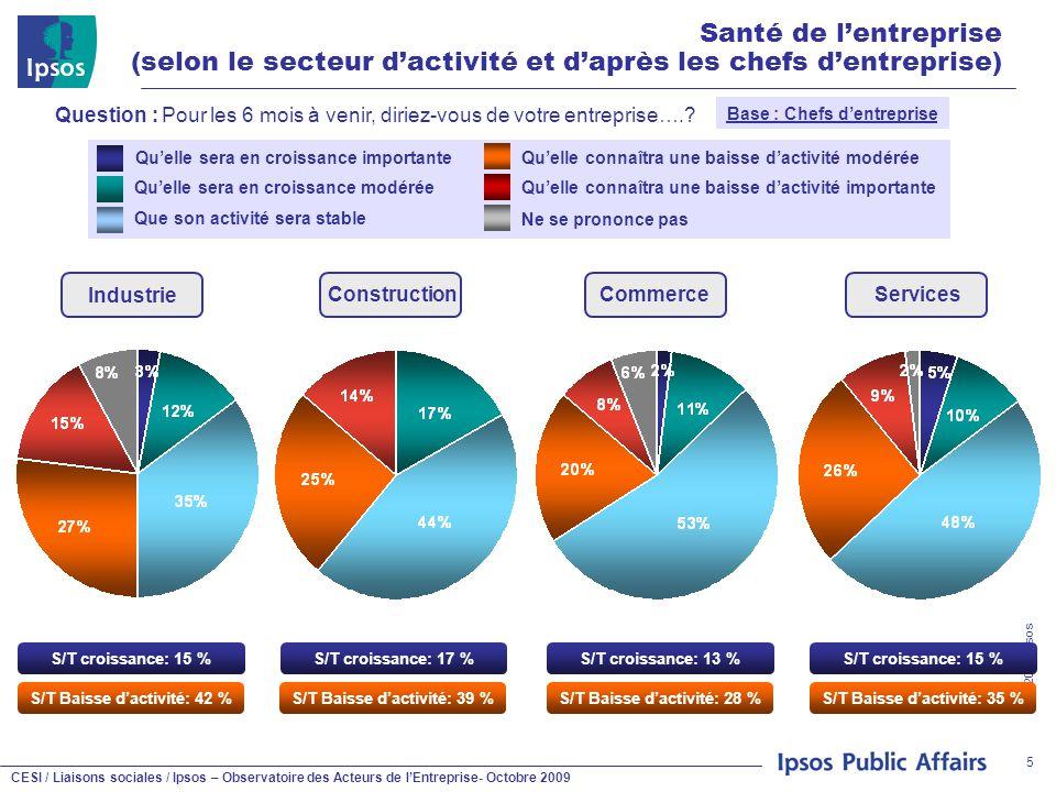 CESI / Liaisons sociales / Ipsos – Observatoire des Acteurs de l'Entreprise- Octobre 2009 © 2009 Ipsos 5 Santé de l'entreprise (selon le secteur d'act